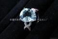 (纯天然)新疆水滴形海蓝戒指(