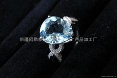(純天然)新疆水滴形海藍戒指(特惠價)