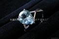 (纯天然)新疆海蓝水滴戒指(特
