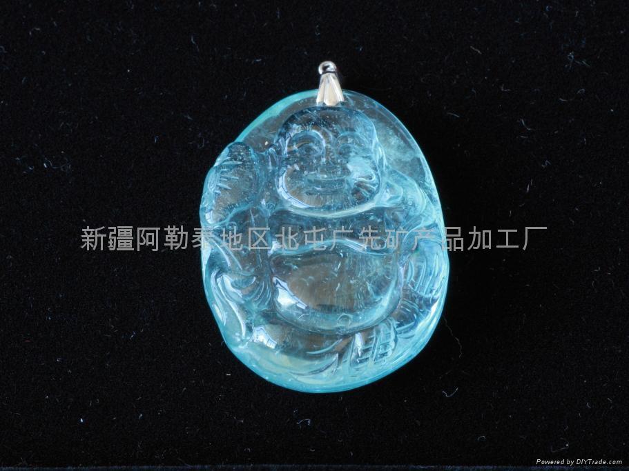 新疆精美藍海寶石雕刻佛(特惠價) 1