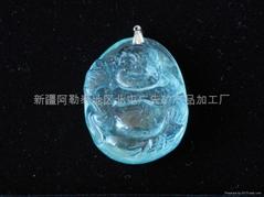 新疆精美藍海寶石雕刻佛(特惠價)