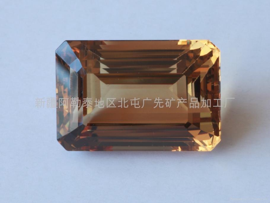 (极品)新疆方形黄色海蓝宝石裸石 1