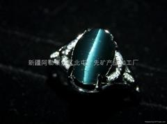 (纯天然)新疆蓝猫眼戒指(特惠价)