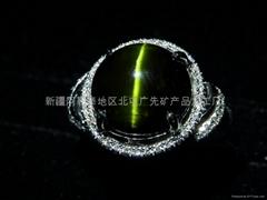 (纯天然)新疆绿猫眼戒指(特惠