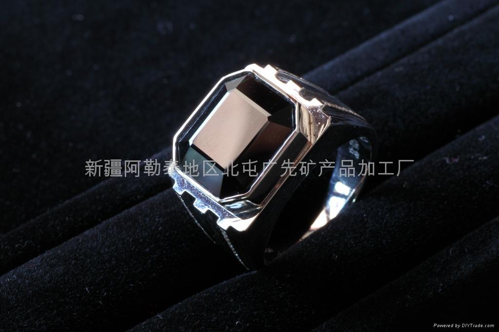 新疆蓝绿碧玺男戒(优品) 1