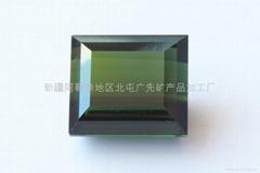 新疆绿色方形碧玺裸石(天然)