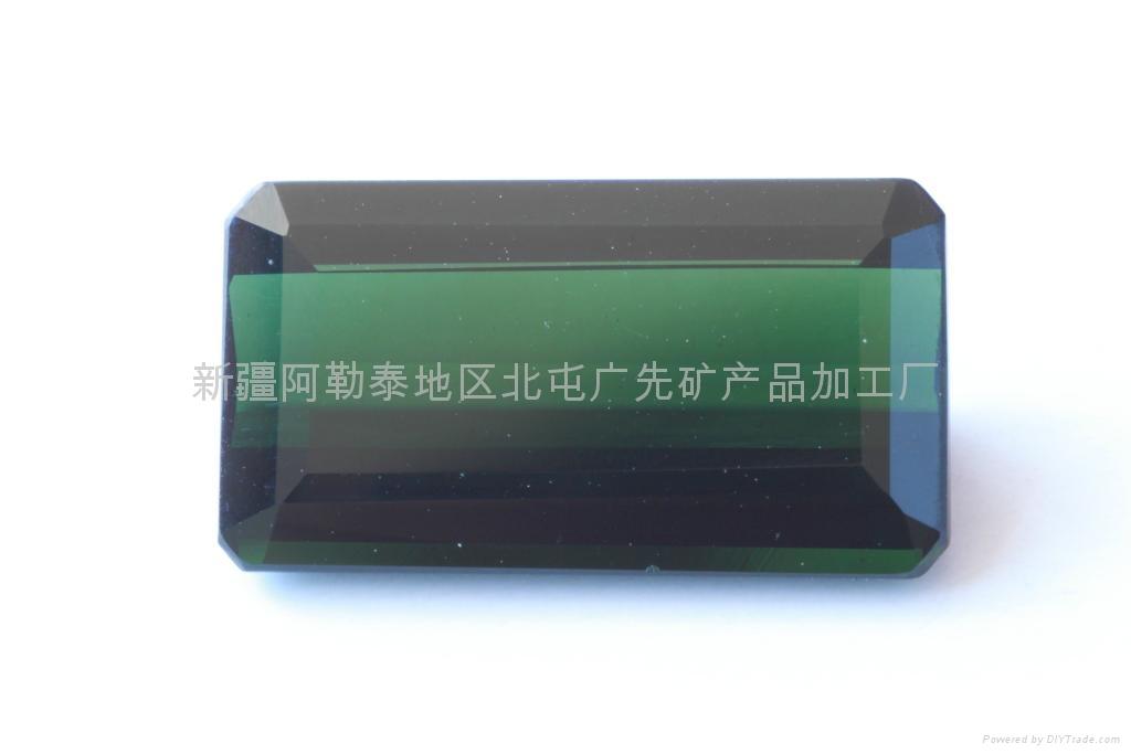 新疆绿蓝色长方碧玺裸石(天然) 1