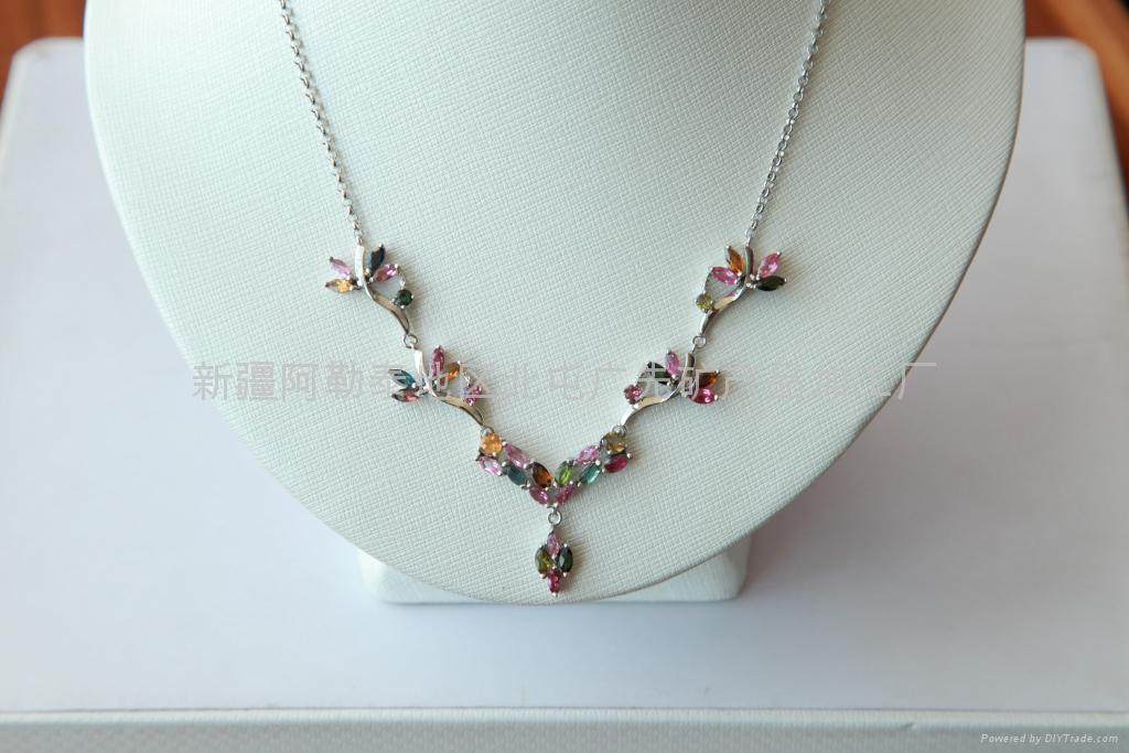 (纯天然)新疆精品碧玺项链(925Ag) 1