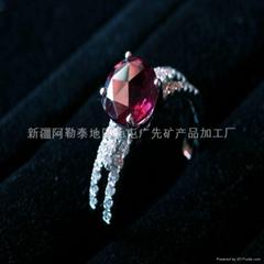 (天然)新疆紅碧璽女戒