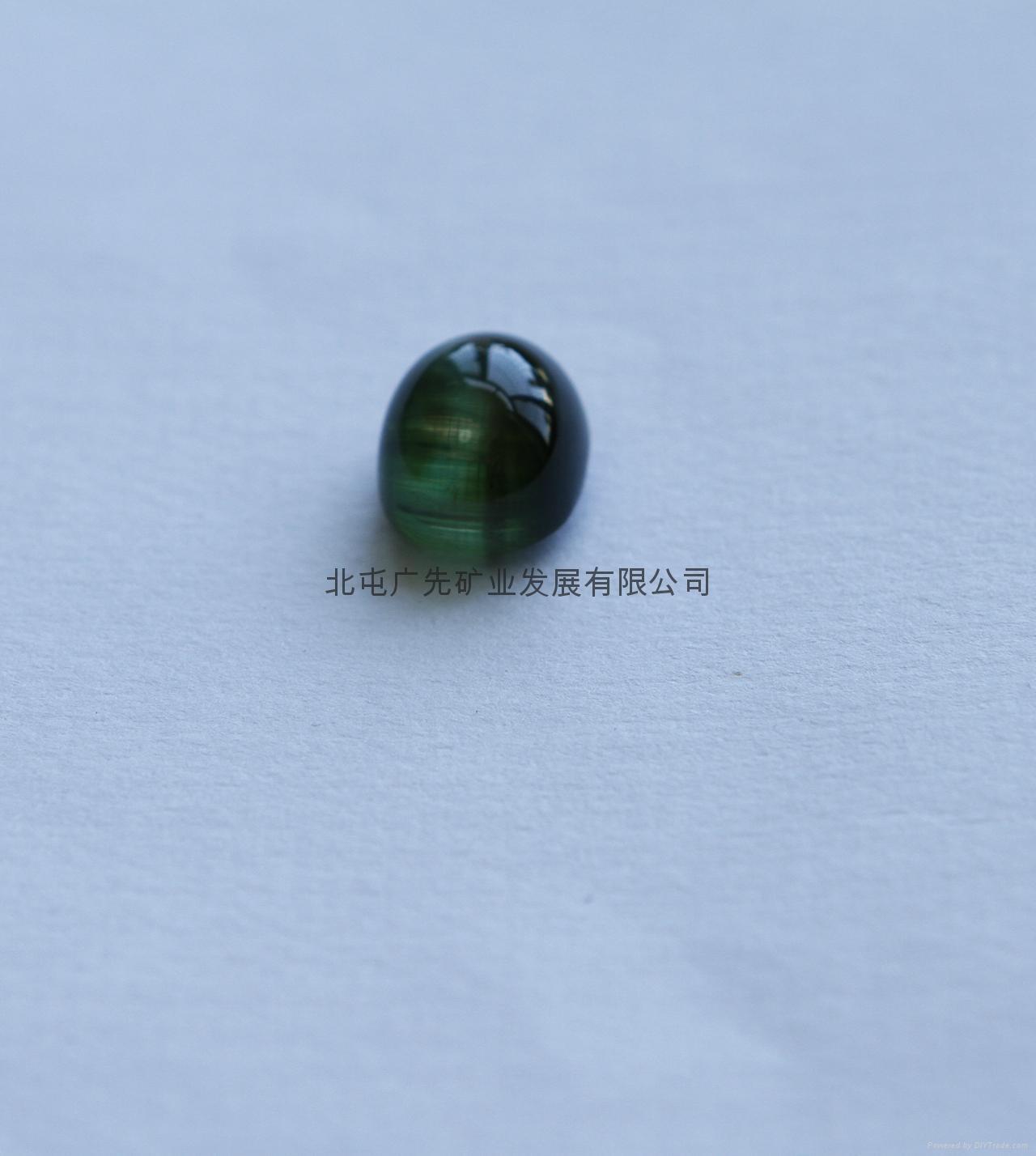 新疆阿勒泰产绿猫眼碧玺裸石(椭圆形)七夕优惠款 2