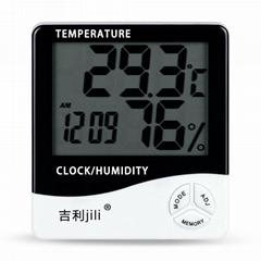 吉利(jili)電子溫度計數顯溫濕度計高精度帶時間鬧鐘可貼牌logo