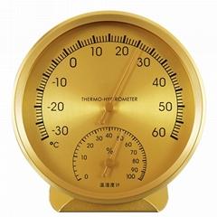 室內外溫濕度計高精度濕度計金色材質外殼直徑110mm