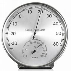 工厂贴牌带生产指针式温湿度计不锈钢外壳温度计高精度灵敏