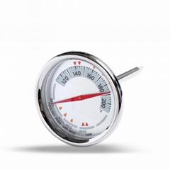 高精度不鏽鋼外殼探針溫度計烹調燒烤油炸溫度計廚房用品溫度表
