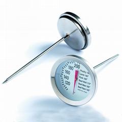 金屬油炸鍋不鏽鋼指針食品溫度計烘焙火雞溫度表探針式精準油溫計