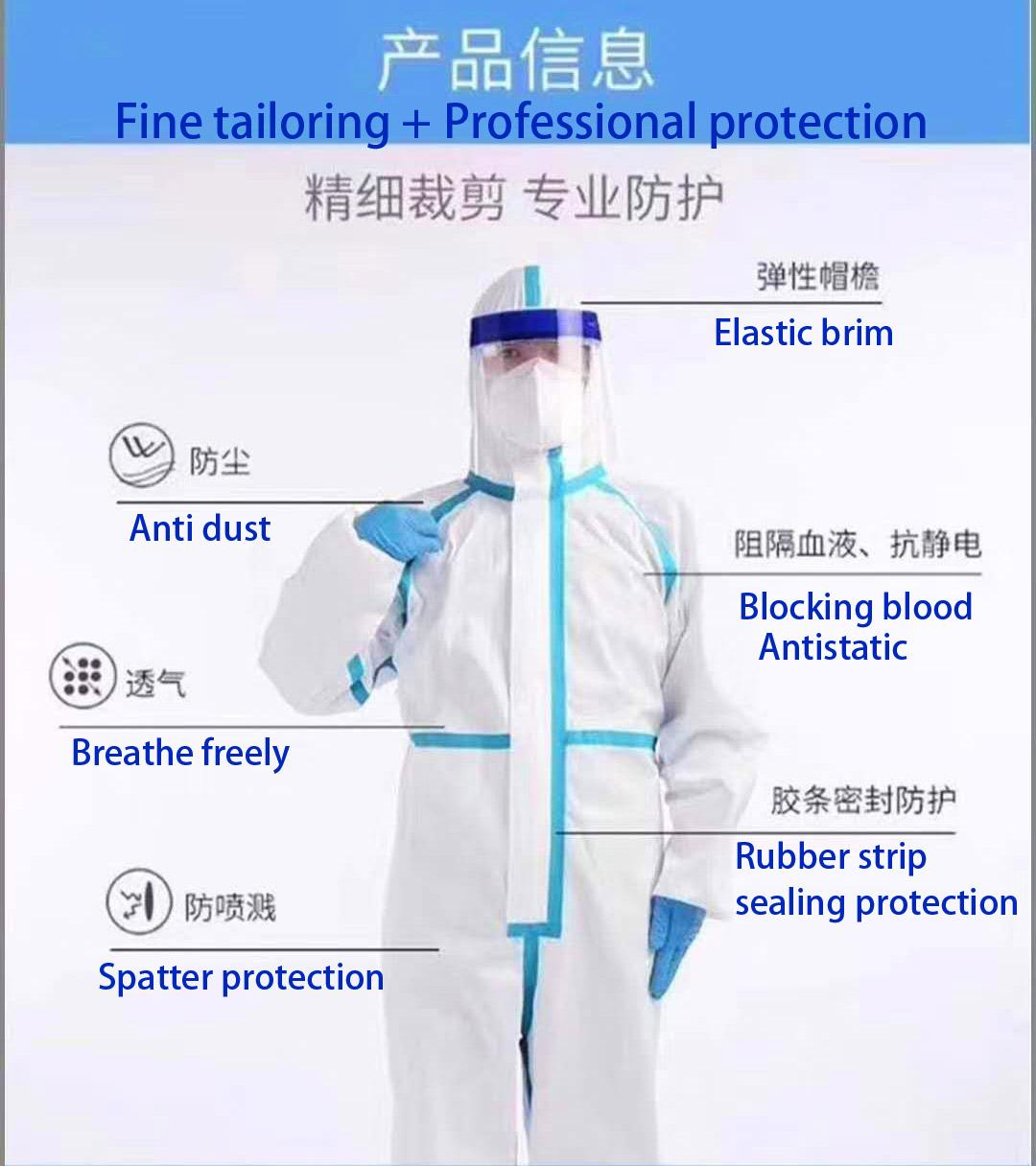 Medical  Isolation Gown Disposable Coverall Nonwoven SMS Virus Protection Suit 1