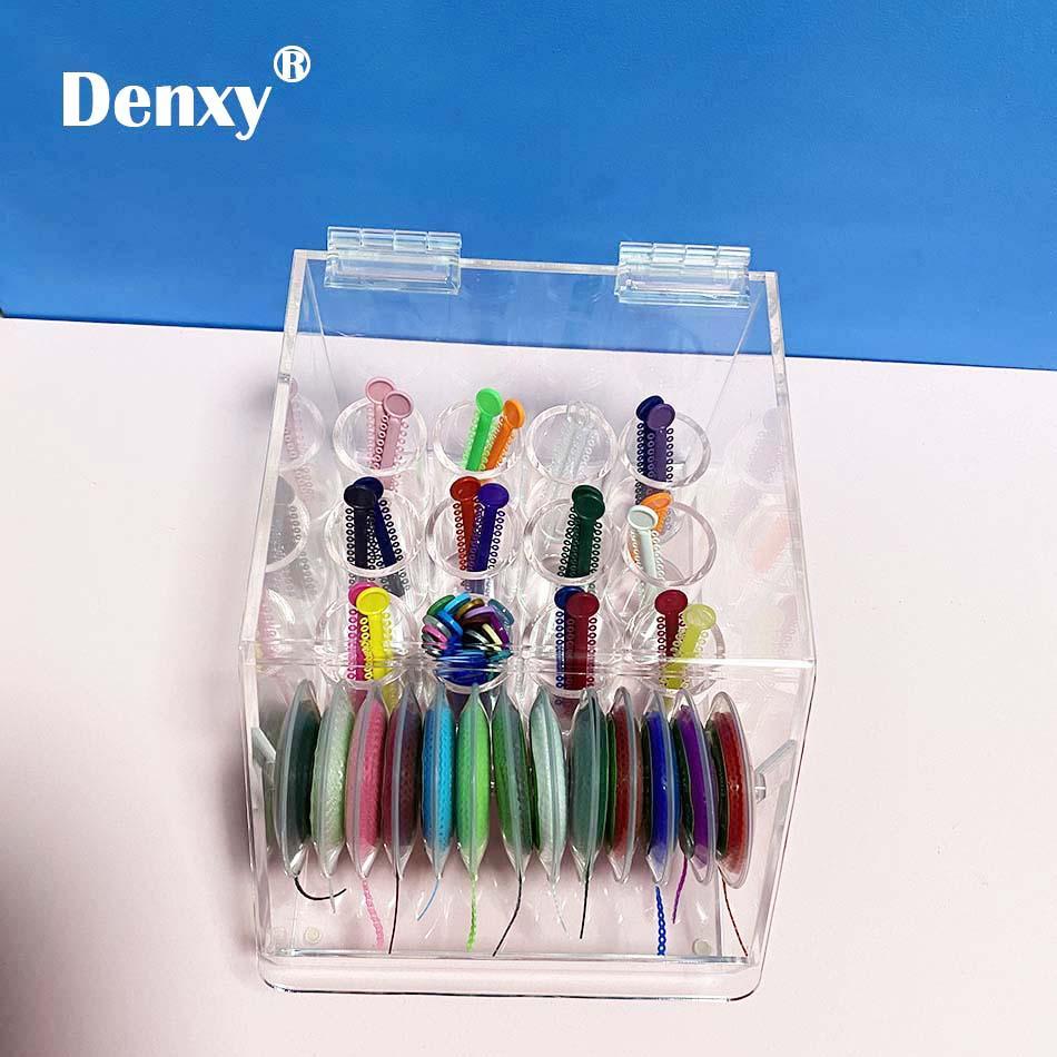 Dental Orthodontic ligature tie Acrylic Dispenser Elastic chain Placing Box Powe 3