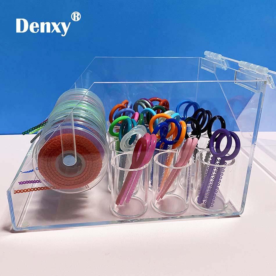 Dental Orthodontic ligature tie Acrylic Dispenser Elastic chain Placing Box Powe 5