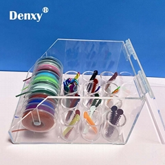 Dental Orthodontic ligature tie Acrylic Dispenser Elastic chain Placing Box Powe