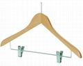 low prices wooden hanger with lotus wooden clip hanger for super market  2