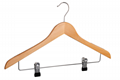 low prices wooden hanger with lotus wooden clip hanger for super market  3