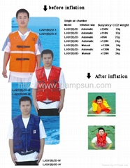 Inflatable lifejacket( vest style ) single air chamber