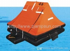 throw-over type inflatable liferaft for yacht type U