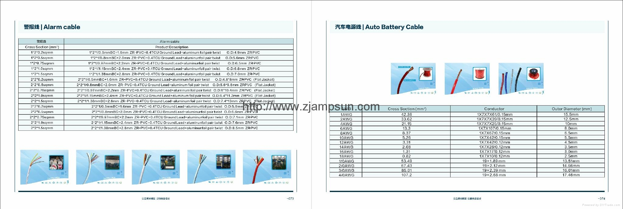 alarm cable ,auto battery cable etc.