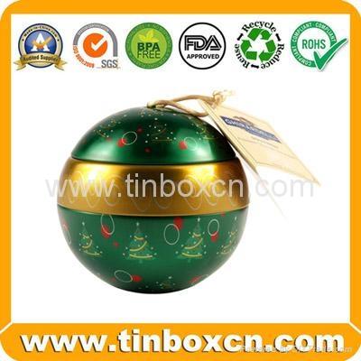 Customized christmas ball tin box gift tin cans 1