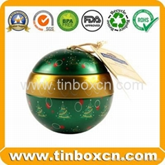 Customized christmas ball tin box gift tin cans
