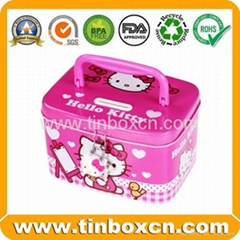 Metal tin coin bank with lock saving money box