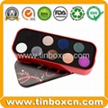 Rectangular cosmetic tin box makeup