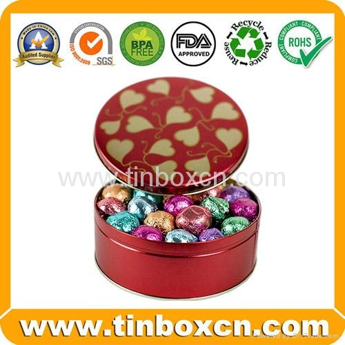 Food packaging round chocolate tin box metal tin can 3