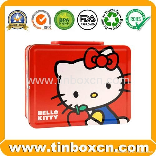 Rectangular lunch tin box with handle for gift tin case packaging 2