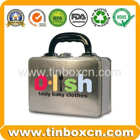 Rectangular lunch tin box with handle for gift tin case packaging 4