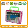 Rectangular lunch tin box with handle for gift tin case packaging 5