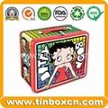 Rectangular lunch tin box with handle