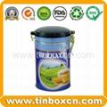 Round can tea tin box with airtight lid