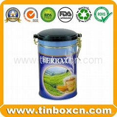 Round can tea tin box with airtight lid for tea caddy tea canister packaging