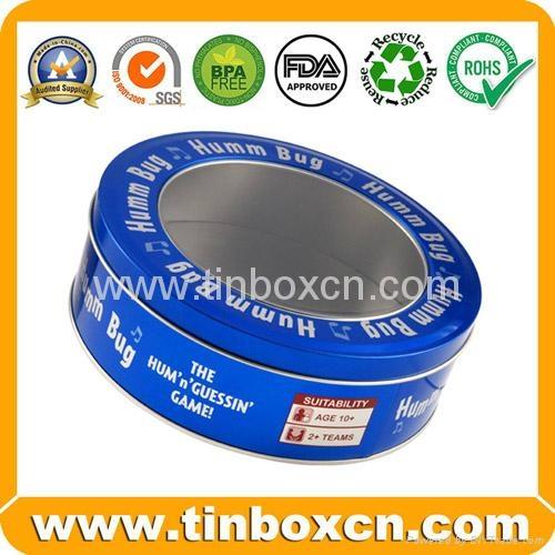 Round custom tin box metal tin can with transparent PVC window 1