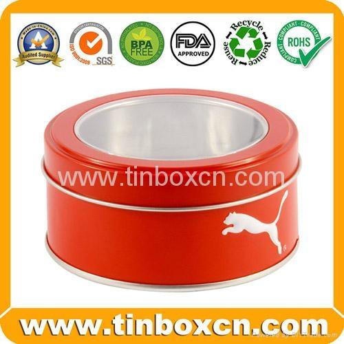 Round custom tin box metal tin can with transparent PVC window 2