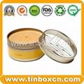 Round custom tin box metal tin can with transparent PVC window 3