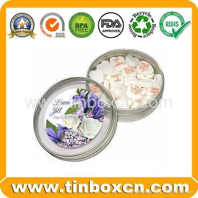 Round custom tin box metal tin can with transparent PVC window 4
