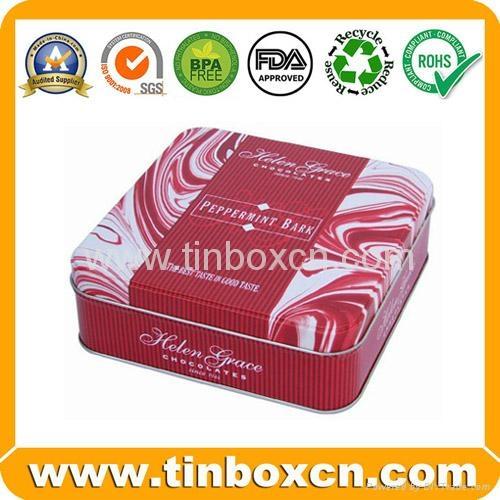Square chocolate tin box food tin container metal tin can 4