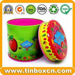 Food Packaging Round Metal Candy Tin Box