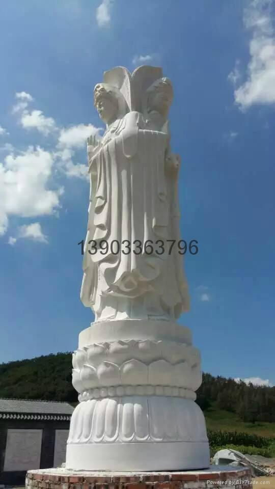 漢白玉三面觀音雕像  2