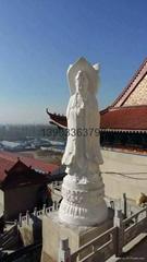 漢白玉三面觀音雕像