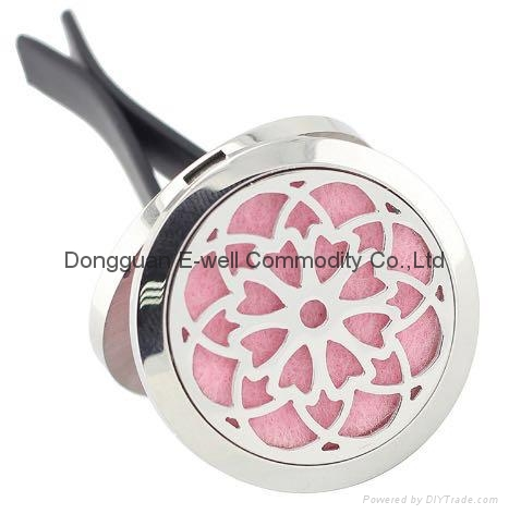 30mm Round Stainless Steel Essential OilDiffuser Car Perfume Locket Clip 1