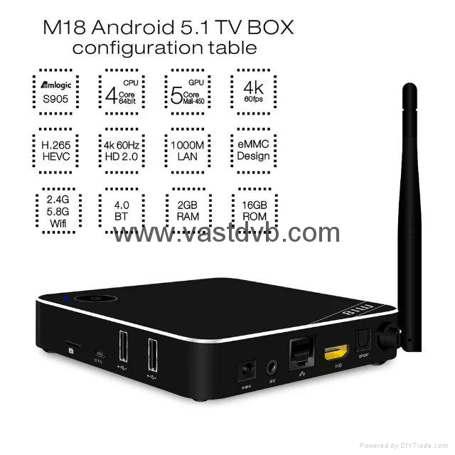 Beelink M18 Amlogic S905 4K 2GB /16GB android 5.1 TV BOX 2.4G/5G Dual Band WIFI  3