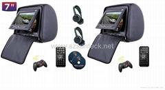 1 pair 7 inch headrest dvd with zipper cover+IR wireless headphone